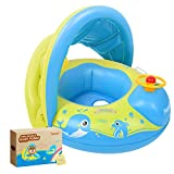 Peradix Baby Float for Pool with Canopy Inflatable Infant Pool Float Boat Sunshade Swimming Ring...