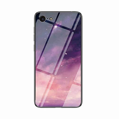 Miagon Glas Handyhülle für iPhone 6 Plus/6S Plus,Himmel Serie 9H Panzerglas Rückseite mit Weicher Silikon Rahmen Kratzresistent Bumper Hülle für iPhone 6 Plus/6S Plus,Rosa