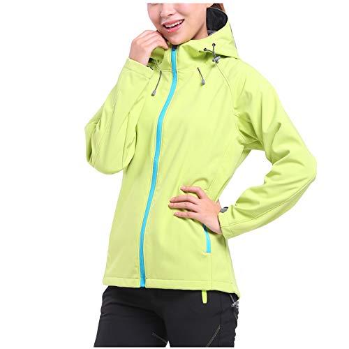HWTOP Softshell-Jacke Kapuzenjacke Damen Bergsteigen Sweatjacke Warm Outdoorjacke Windproof Plus Cashmere Reißverschluss Cardigan Coat, Grün, XL
