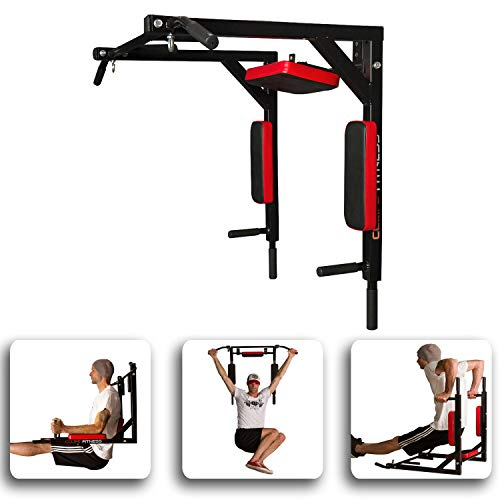 CCLIFE Barre de Traction et Dips Murale - Barre de Traction Murale avec Dips - Chaise Romaine Murale - 300kg - Barres de Traction Crossfit