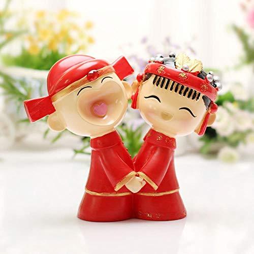 Soode Happy Chinese bruiloft taart toppers tafel decoraties bruid en bruidegom Figurine taart topper decoratie
