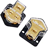 LEIGESAUDIO 0/2/4 Gauge in 4/8 Gauge AWG Out Amp Power Distribution Block for Car Audio Splitter-2 Way(2 Pack)