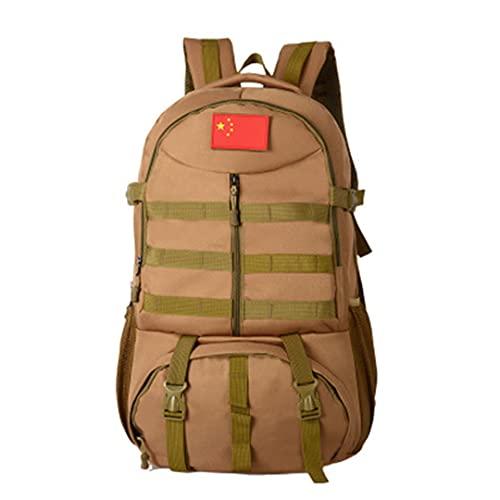 Ynrbeminb Bolsas del Ejército al Aire Libre Senderismo Rucksack Camping Viaje Mochila Trekking Sports Bag 600D Mochila de Caza Khaki 50-70L