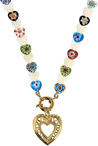 JoHUAZ Moda Colorido Fritillary Granos de Cristal Collar Personalidad corazón geométrico Colgante Collar Regalo de joyería for Mujeres día de San Valentín Navidad, Oro (Color : Gold)