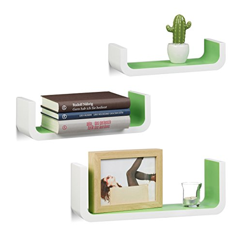 Relaxdays Wandregal 3er Set, dekorative U-form Wandboards, Holz-Regalbretter 10 cm tief, bis 40 cm breit, weiß-grün