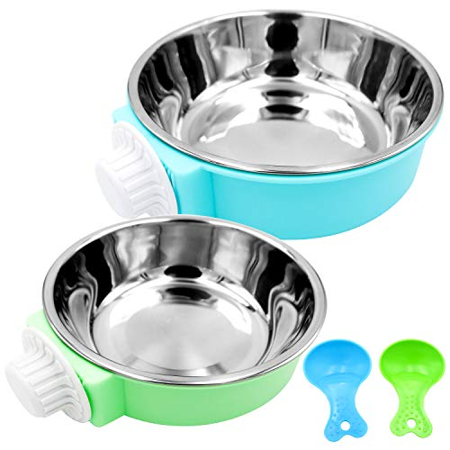 Bac-kitchen Crate Dog Bowl - Removable Stainless Steel Hanging Pet Cage Bowl Food & Water Feeder Coop Cup for Cat Puppy Bird Pets Guinea Pigs (Blue+Green) Categories