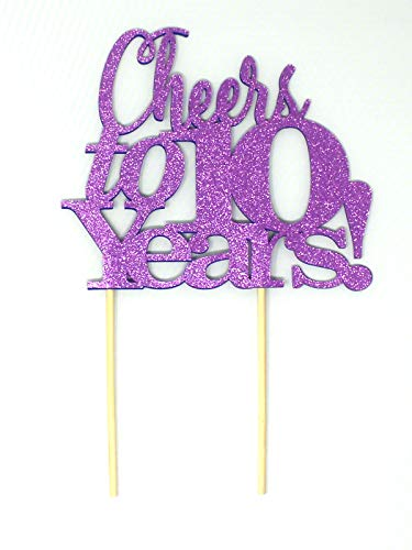 All About Details Cheers to 10 Years Cake Topper, 1PC, 10th anniversary, retirement (Purple), 6 x 9