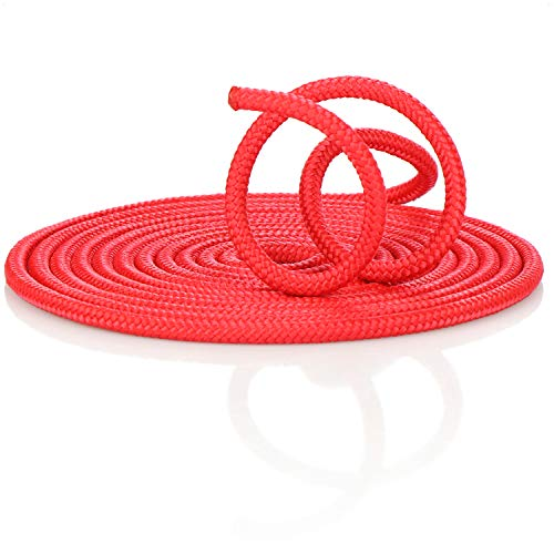 com-four® Springseil 5m, rotes Universalseil, verwendbar als Gymnastikseil, Springschnur, Hüpf- und Spielseil, für Training oder Tauziehen