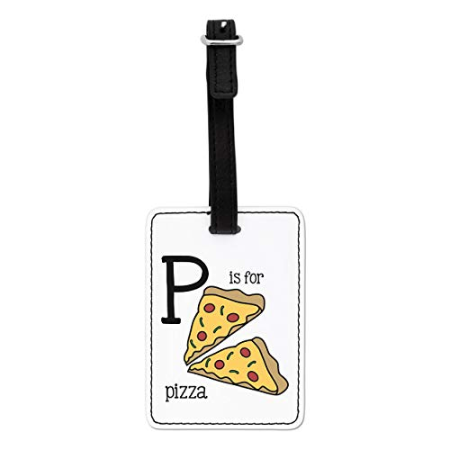 Gift Base Letter P is for Pizza Visual Luggage Tag with Black Strap