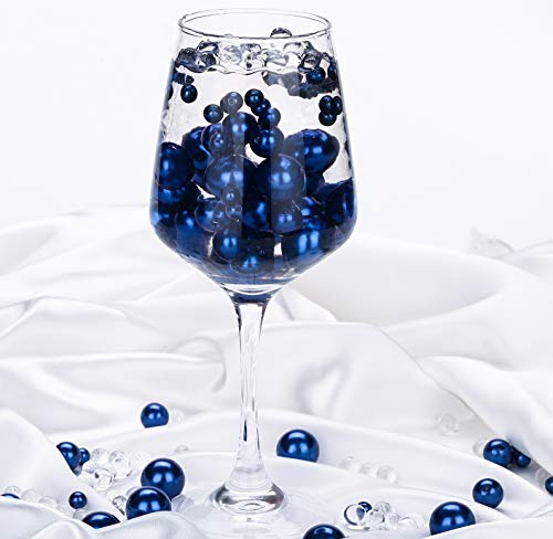 QINGYA 110 pcs Royal Blue Plastic Beads Pearls with 2000 pcs Clear Water Beads - Vases and Centerpieces for Wedding Beads - DIY Vase Fillers Beads