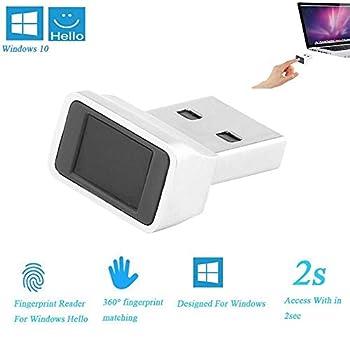 TiooDre Lecteur D'empreintes Digitales USB pour Windows 10 Bonjour 32/64 Bits Ordinateur Portable, Fingerprint USB Security Key, 360 Degree Speedy Matching, Silver