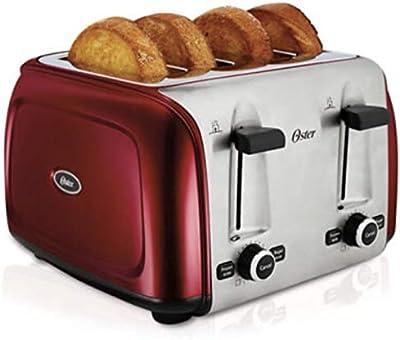 Oster tssttr4srd 4-slice tostador, color rojo metálico
