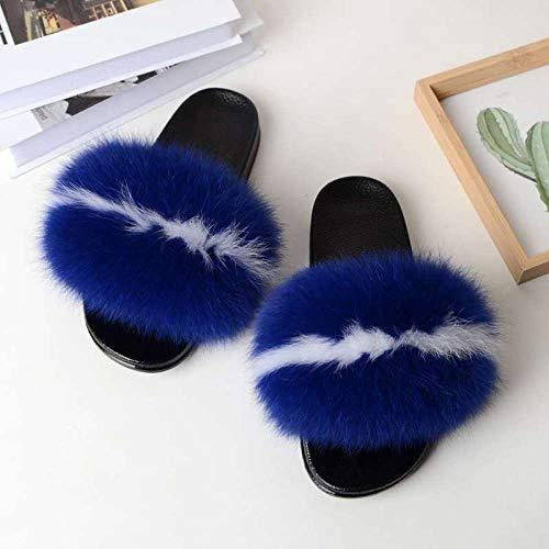 XZDNYDHGX Hausschuhe Winter,Frauen Pelzrutschen Home Pelz Flache Sandalen, Weiblich Niedlich Flauschige Hausschuhe Woman14 EU 35-36