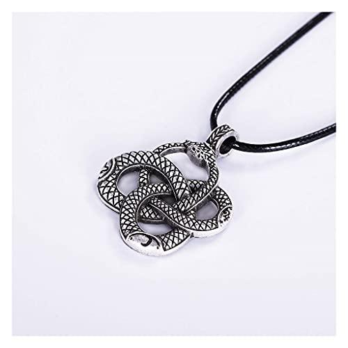 gujiu Viking Serpent Necklace Snake Colgante Faux Cuerda de Cuero Joyería Regalo para el Día de San Valentín, Navidad, Cumpleaños o Aniversario Regalo (Color : B)