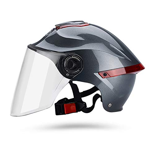 Galatée Casco de motocicleta con visera, adecuado para ciclomotores, scooters, cruceros, pase la prueba de colisión para cumplir con la seguridad vial(Gris, Lente transparente)