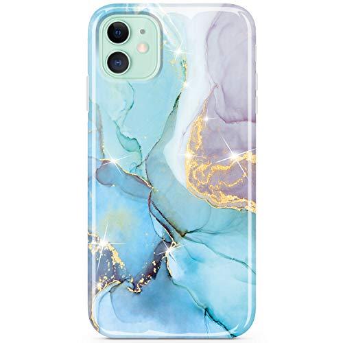 JIAXIUFEN Compatible con iPhone 11 Case Gold Sparkle Glitter Marble Delgado a prueba de golpes Flexible Bumper TPU Soft Case Funda de silicona Funda para iPhone 11 6.1 pulgadas - Menta Púrpura