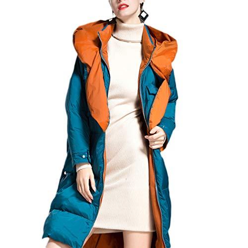 moonWANG Frauen Daunenmantel Übergröße Dicker Reißverschluss Lange Daunenjacke mit großer Kapuze Winter Outwear für Frauen