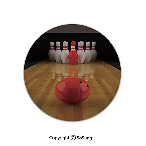 Bowling Party Decorations Round Area Rug,Alley with Red Skittle in Center Target Score Winning Decorative,for Living Room Bedroom Dining Room,Round 4'x 4',Light Brown Red White