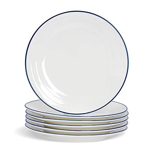 Nicola Spring Assiettes Plates Farmhouse - Blanc/Bleu - 26 cm (10\