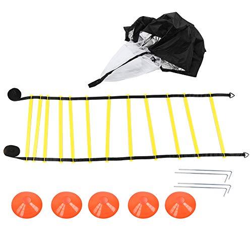 Petyoung Fußballtrainingsleiter Scheibe Drag Fallschirm Set Sprunggitter Agile Trainingsseil Geschwindigkeit Trainingsgeräte Set
