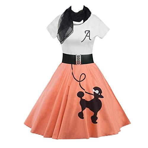 DressLily Retro Poodle Print High Waist Skater Vintage Rockabilly Swing Tee Cocktail Dress,OrangePink,2XL