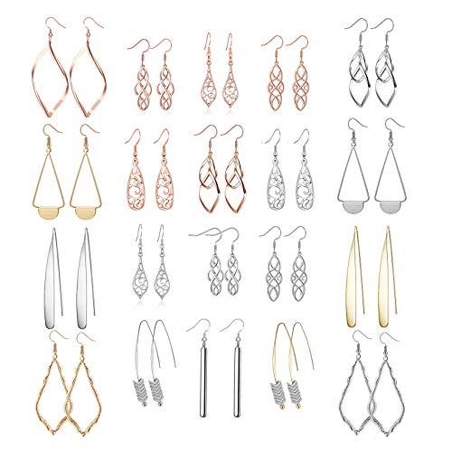 20 Paris Assorted Dangle Earrings for Women Fashion-Celtic Earrings for Women Gold Bar Earrings for Teens Girls Dangle Earrings Set for Women Cute Earrings Dangle for Teen Girl Filigree Earrings