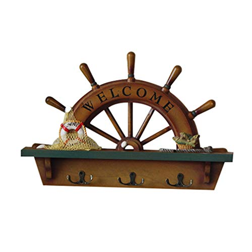Gancho de Pared de Madera en Forma de Timón Vintage Perchero de Pared Gancho Náutico Colgador para Decoración Hogar Dormitorio Baño Bar