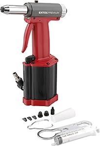 Extol Premium–Pistola remachadora de aire comprimido AR 740para remaches con brazo ölkühlung y conector Válvula, 2,4–4,8mm, 1pieza, rojo, 8865070