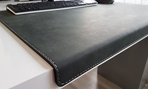 Gewinkelte Schreibtischunterlage mit Kantenschutz Nubuk Leder 90 x 47 Anthrazit