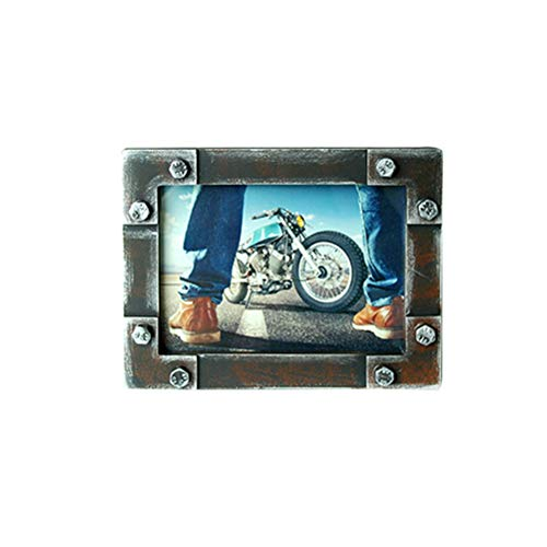 Vosarea Marco de fotos de metal vintage retro industrial decorativo marco de fotos de escritorio para sala de estar dormitorio