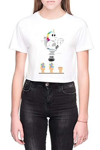 Regenboog Eenhoorn Ijs Room Dames Crop T-Shirt Wit Women's Crop T-Shirt White