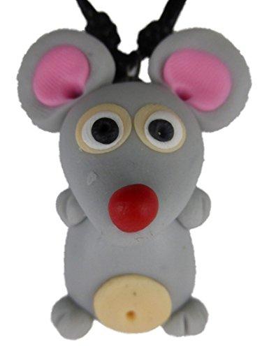 Kette Halskette mit handgemachter Figur grau Maus Nager Nagetier Ratte 1232