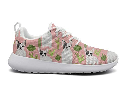 LOKIJM French Bulldog Cactus Cacti Cute Fashion Sneakers Women Women Slip on Breathable Lightweight Best Running Shoes