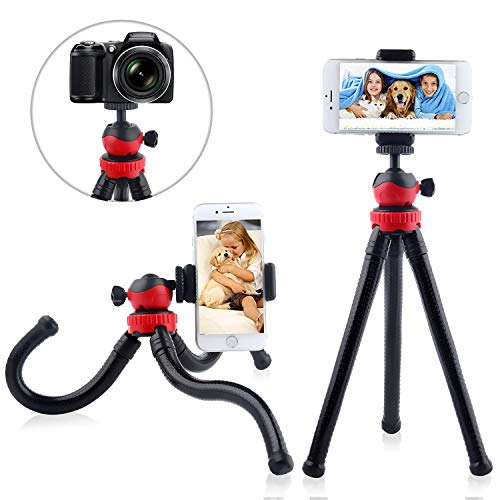 Updated 2020 Version Cell Phone Tripod Stand, Portable Flexible Camera Tripods Mount, with Bluetooth Remote and Universal Clip 360
