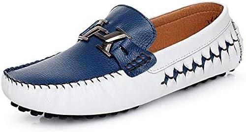 YUAN Herren Casual Flache Slipper, Komfortable Peas Schuhe Wild Slipper & Slip-One Rutschfeste Kleid,Blau,41