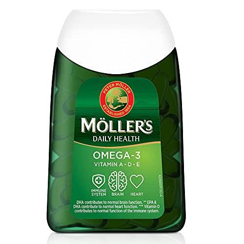 Moller's    Cápsulas de omega 3   Aceite de pescado   Suplemento dietético nórdico con omega 3 y EPA, DHA, vitaminas A, D y E   Marca con 166 años de historia   Daily Health   112 cápsulas