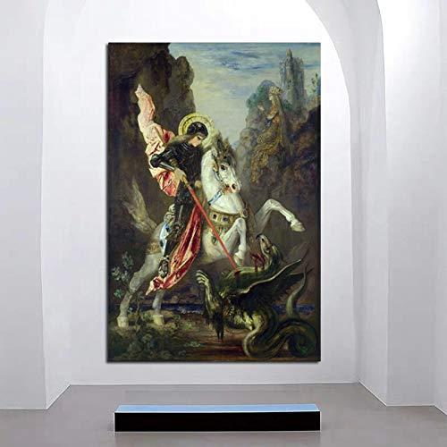 Cuadro En Lienzo, Carteles Imprimir Fotografías Gustave Moreau San Jorge El Dragón 35X55cmCuadros De Pared para Sala De Estar