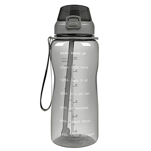Half Gallon/64 oz Motivational Water Bottle, Leakproof Tritan BPA Free Water Jug, with Straw & Time Marker, Carry Strap, Wide Mouth, 2L Easy-clean Drinking Water Bottle for Fitness, Gym, Travel and Sports