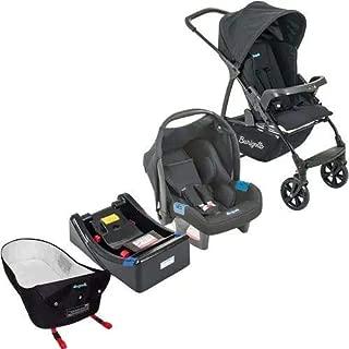 Carrinho Ecco Preto com Bebê Conforto Touring Evolution SE + Base + Ninho Pramete - Burigotto
