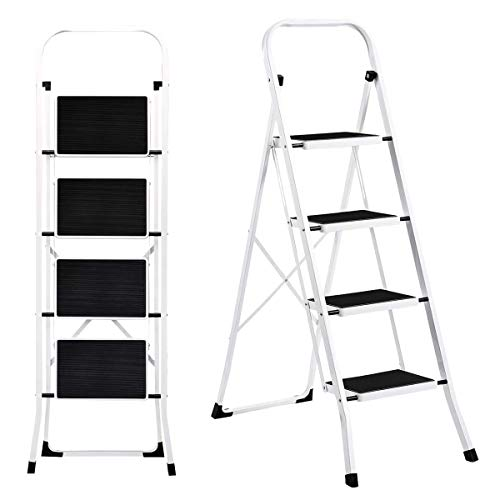 Folding Steel 4-Step Ladder Anti-Slip, Sturdy Wide Pedal Ladder for Office Kitchen, White Lightweight Four Step Stool 300 lbs Capacity