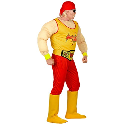 Amakando Originelles Wrestling Kostüm für Männer / Gelb-Rot S (48) / Wrestler Faschingskostüm Sportler / Ideal zu Fasching & Kostümfest