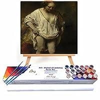 絵画 大人のための数字 古典芸術の女性の肖像画 ス ペイントバイナンバー 大人 ビギナ 大人 ペイントバイナンバー キット ギフト 50x50cm フレームレス