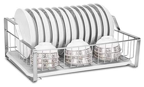 Escurridor de Platos Cocina multifuncional Almacenamiento de la cocina Cocina de acero inoxidable Drenadores de platos que se drenan  Estante de la organización del bastidor de drenaje con bandeja de