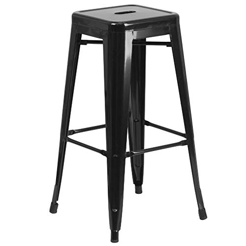 "Flash Furniture Commercial Grade 30"" High Backless Black Metal Indoor-Outdoor BarStool with Square Seat"
