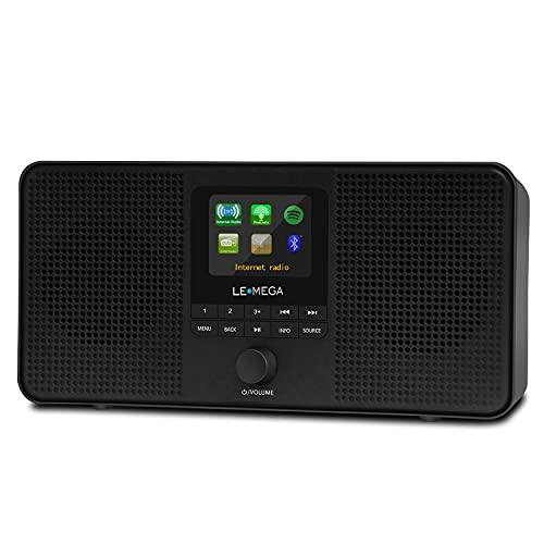 LEMEGA IR4S Stereo WIFI Internet Radio,Portable DAB DAB+ FM Digital Radio,Spotify Connect,Bluetooth Speaker,Dual Alarms Clock,60 Presets,Headphone-Output,Batteries or Mains Powered - Black Finish
