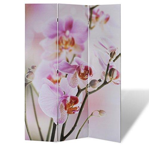 Anself Paravent Raumteiler mit Holzrahmen 120cmx180cm 3-teilig Blumen