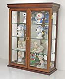 Solid Wood Tuscan Style Small Wall Curio Cabinet, Stand or Wall Mount, 20' W X 26' H X 6.25' D