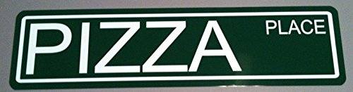 METAL STREET SIGN PIZZA PLACE 6 x 24 MANHATTAN NEW YORK CITY NYC MULBERRY ITALY ITALIAN BRONX BROOKLYN QUEENS BAR GARAGE MAN CAVE RESTAURANT SHOP HOME KITCHEN COLLECTION WALL ART GIFT