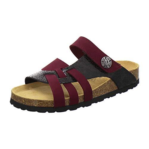 AFS-Schuhe 2120 Sandalen Sommer Damen aus Leder mit Klettverschluss, Bequeme flip-Flops für Frauen mit Fußbett, Made in Germany (39 EU, rot/Beere-Crocco)