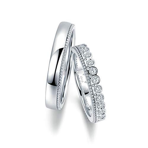 KnSam Anillo Oro Blanco de 18K, Corona de Princesa Príncipe Anillo de Compromiso con Diamante Blanco 0.104ct, Mujer Talla 15 y Hombre Talla 22 (Precio por 2 Anillos)